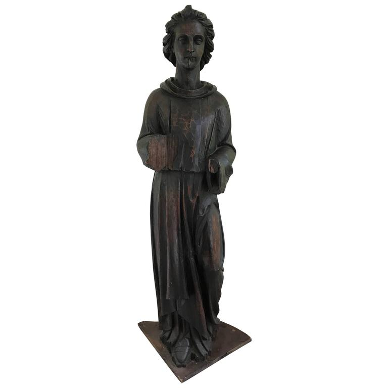 Large 17th Century French Carved Pinewood Angel Statue