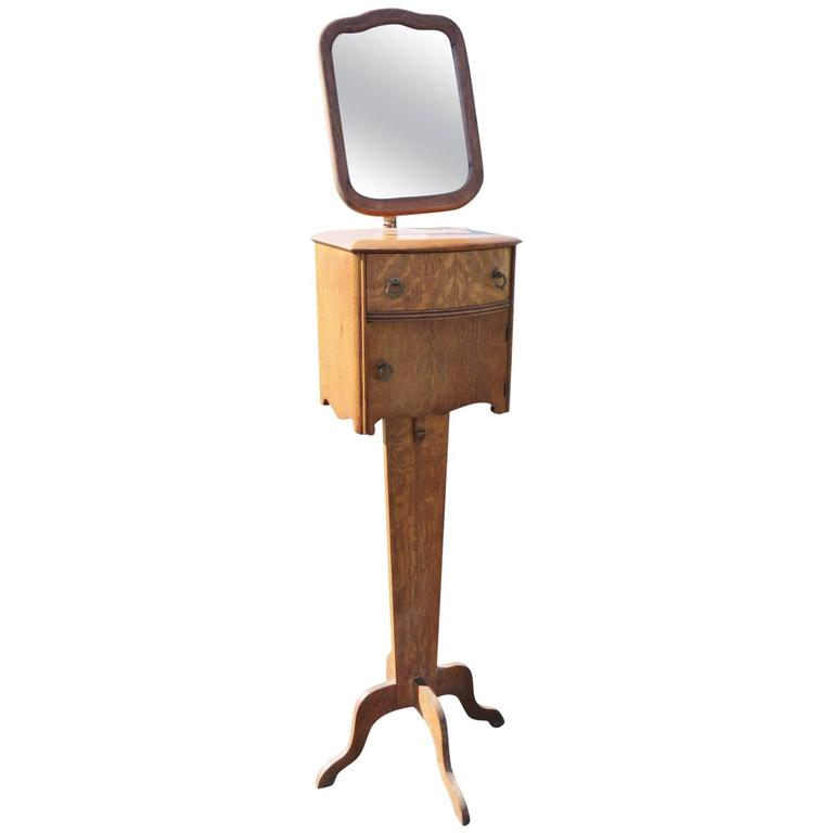 Antique Oak Shaving Mirror Stand For