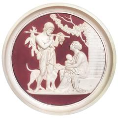 Late 19th Century Neoclassical Bisque Wall Roundel Plaque Relief