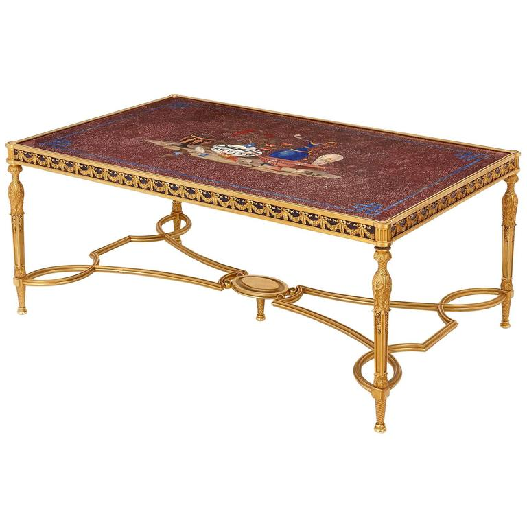 Italian Porphyry, Lapis Lazuli and Pietra Dura Coffee Table For Sale