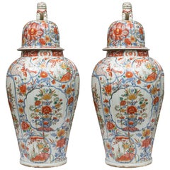Pair of Chinese Palace Lidded Imari Urns