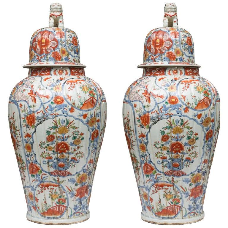 Pair of Chinese Palace Lidded Imari Urns 1