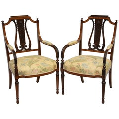 Pair of Louis XVI Style Mahogany and Satinwood Armchairs