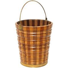 Continental Fruitwood Brass-Bound Peat Bucket