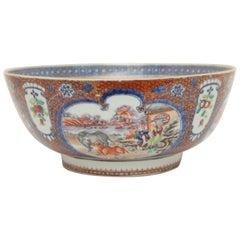 18th Century Chinese Export Mandarin Palette Porcelain Bowl