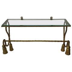 Midcentury Italian Gold Gilt Tole and Glass Vanity Wall Shelf
