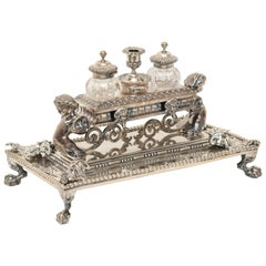 Exceptional Victorian Sterling Silver and Crystal Inkstand