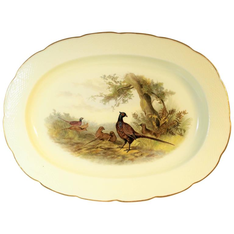 Royal Worcester Porcelain Platter with Pheasants