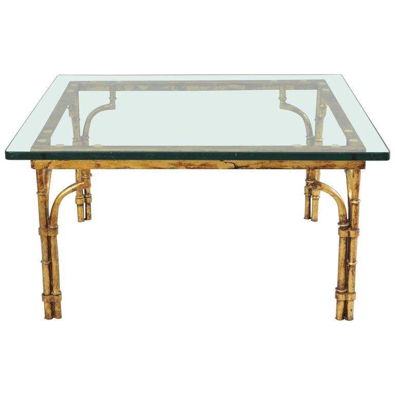 Italian gold gilt iron and glass faux bamboo metal square coffee table vintage for sale at 1stdibs Gold metal coffee table