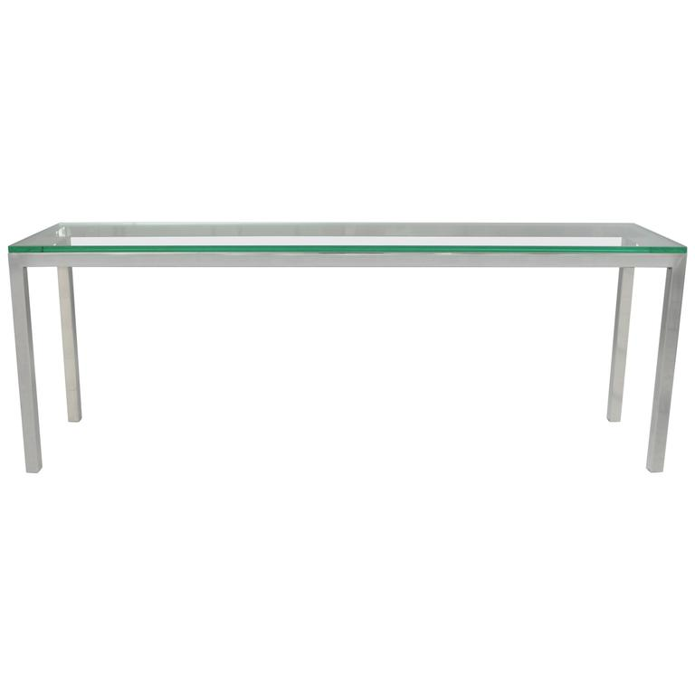 Vintage Chrome And Glass Console Sofa Hall Table Long Sleek Mid Century  Modern