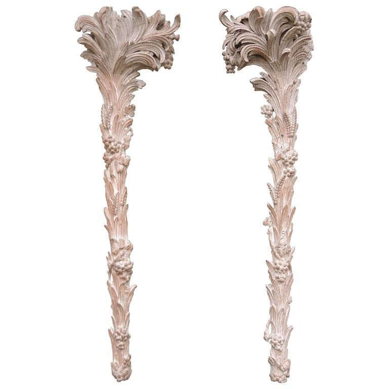 Pair of 1930s Carved Wood Palm Tree Pilasters Originally Fitted as Torchères