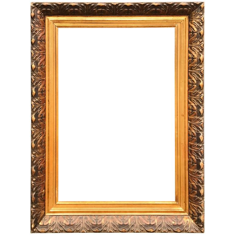 Large and Decorative Gilded Antique Painting or Mirror Frame with Leaf  Motifs