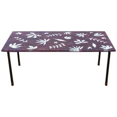 1950s Italian Reverse-Painted Glass Coffee Table designed by Meyer