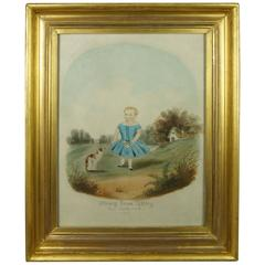 19th Century Folk Art Cat and Child Watercolor Painting Lemon Gilt Frame