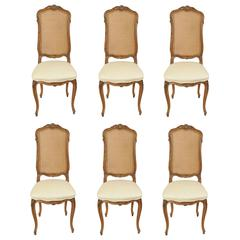Set of Six French Country Louis XV Style Cane Back Walnut Dining Side Chairs