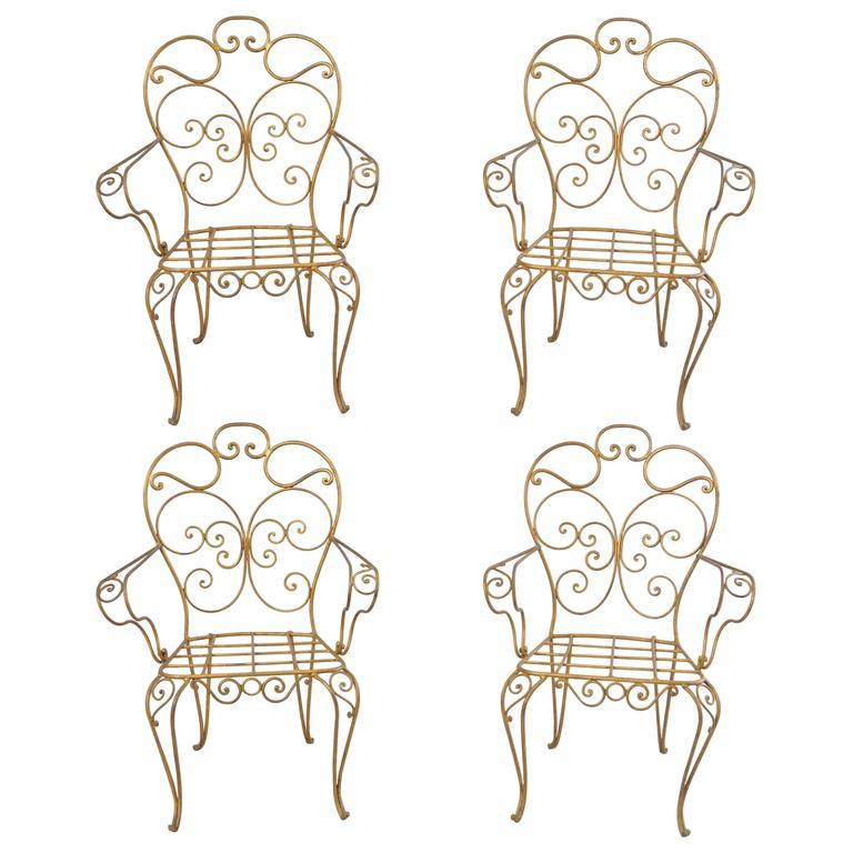 Set of Four Italian Gold Gilt Iron Armchairs, Garden Dining Chairs