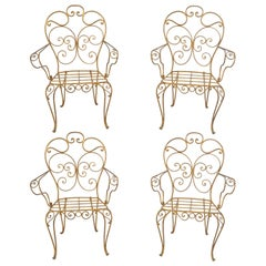 Set of Four Italian Hollywood Regency Gold Iron Metal Garden Patio Arm Chairs