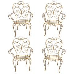 Set of Four Italian Gold Gilt Iron Armchairs, Garden Dining Chairs