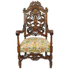 Italian Renaissance Figural Bird & Lion Carved Walnut Throne Captain Arm Chair