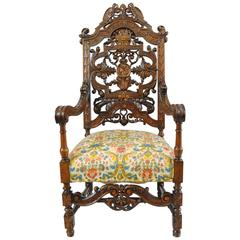 Tall Figural Bird & Lion Carved Walnut Renaissance Revival Throne Captain Chair
