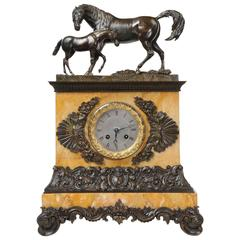 Fine and Early Bronze and Sienna Marble Horses, Mare Tending Her Foal circa 1820