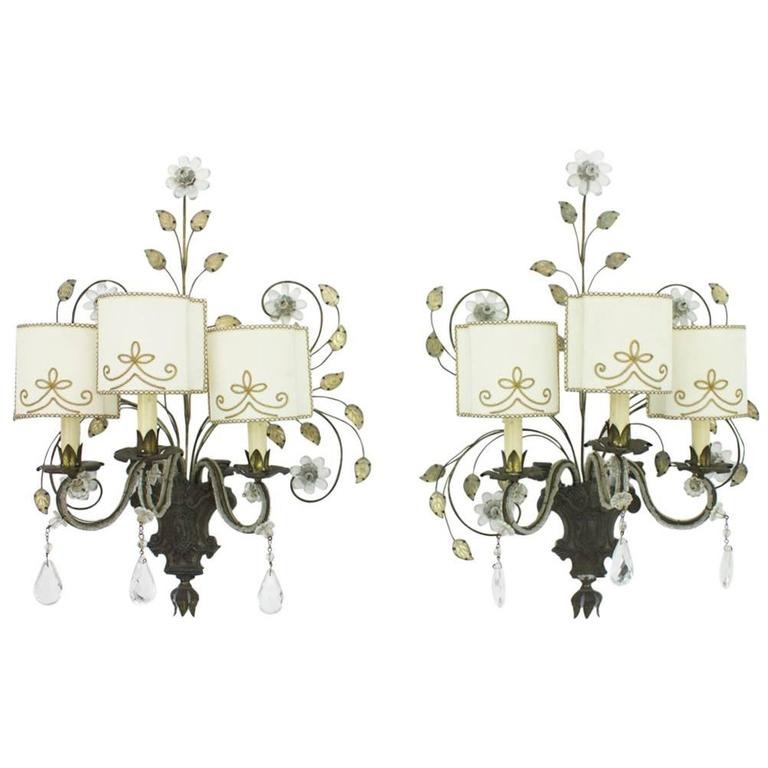 Pair of Large Wall Sconces by Maison Bagues, France 1940