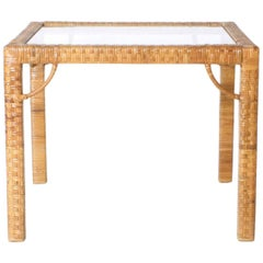 Rattan Wrapped Side Table in the Style of Billy Baldwin, circa 1960