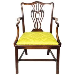 George III Chippendale Mahogany Armchair in Chartreuse Damask