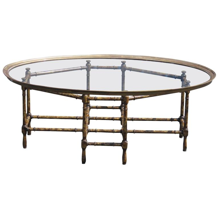 Faux Bamboo Glass Top Tray Top Coffee Table For Sale At 1stdibs