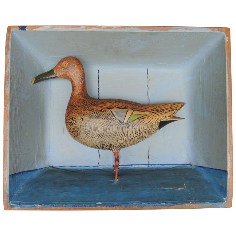 Swedish Shadow Box Diorama with a Hand-Carved and Painted Wood Shore Bird For Sale