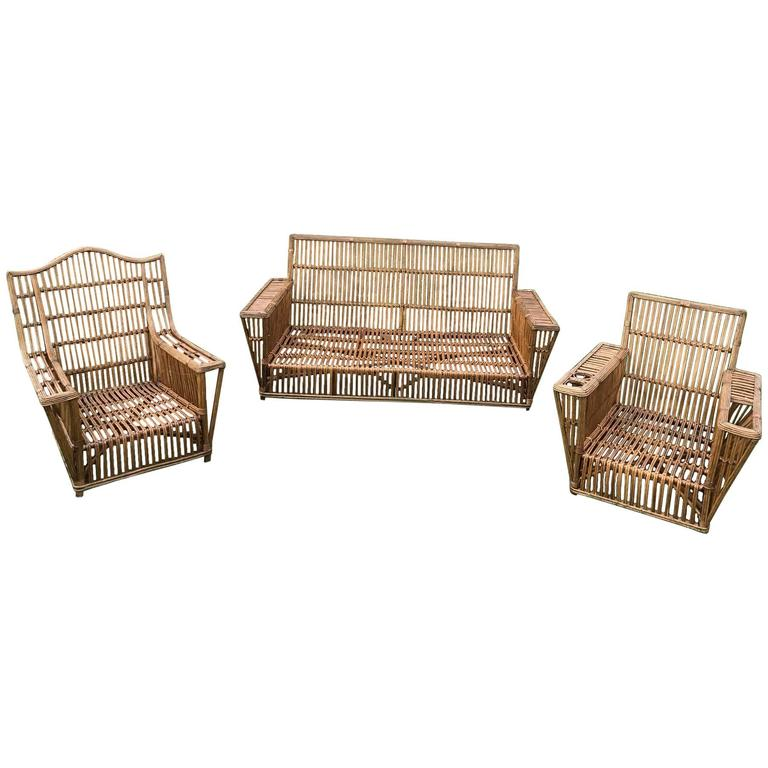 Antique Stick Wicker Rattan Set