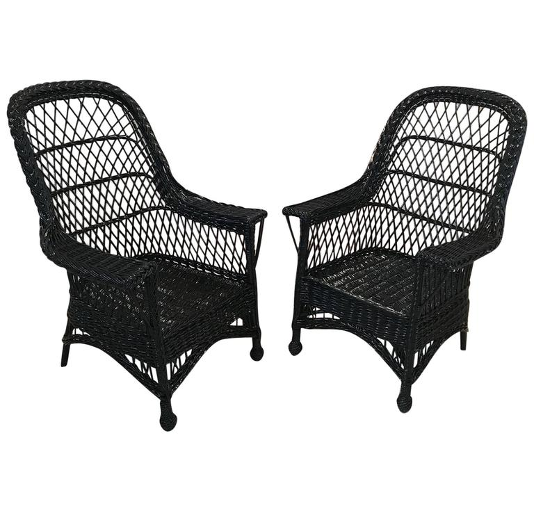 Antique Wicker Chairs by Paine Furniture For Sale - Antique Wicker Chairs By Paine Furniture For Sale At 1stdibs