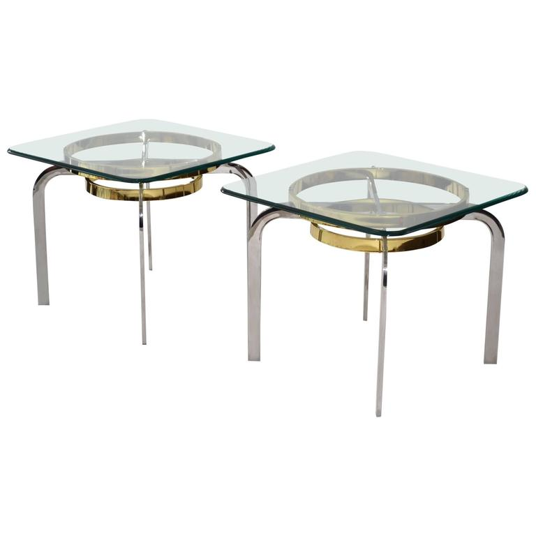 Pair of Modern Side End Tables Leon Rosen for Pace, 1970s