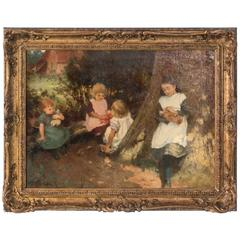 Antique 19th Century Oil Painting of Children Playing, Signed Edwin Roberts