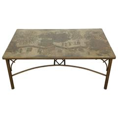 Rectangular Etched Bronze DiningTable by Philip and Kelvin LaVerne
