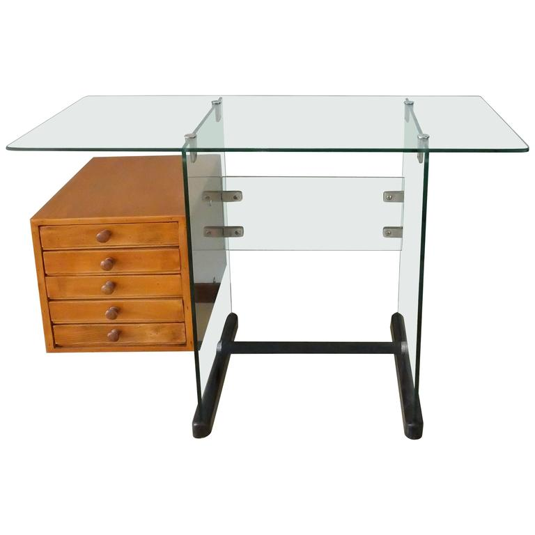 Stately All Glass Desk By Gio Ponti For The Offices Of Vetroe Milan
