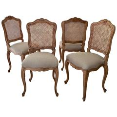 Set of Four French, LXV Style Chairs with Cane Back