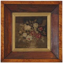 Framed 19th Century Needlepoint in Mahogany Frame