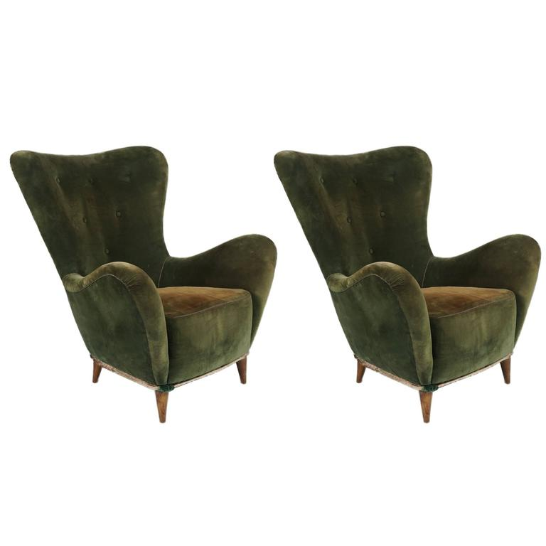 Pair of Italian Mid-Century Flair Back Chairs 1