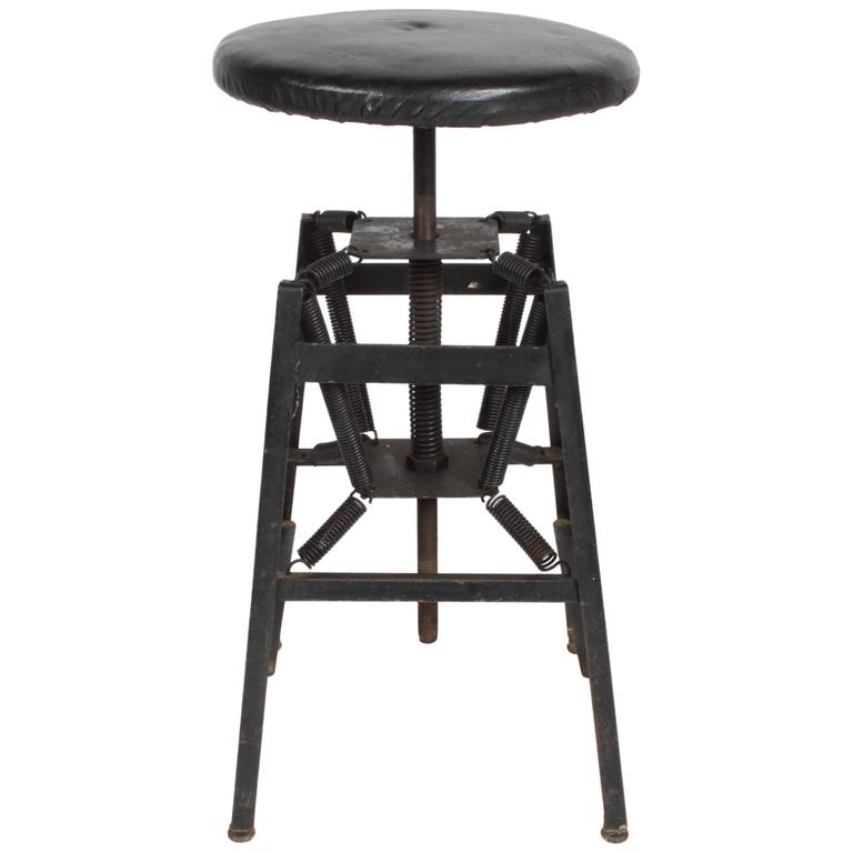 Charmant Industrial Architects Drafting Spring Stool For Sale