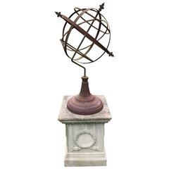 Large English Armillary on Pedestal