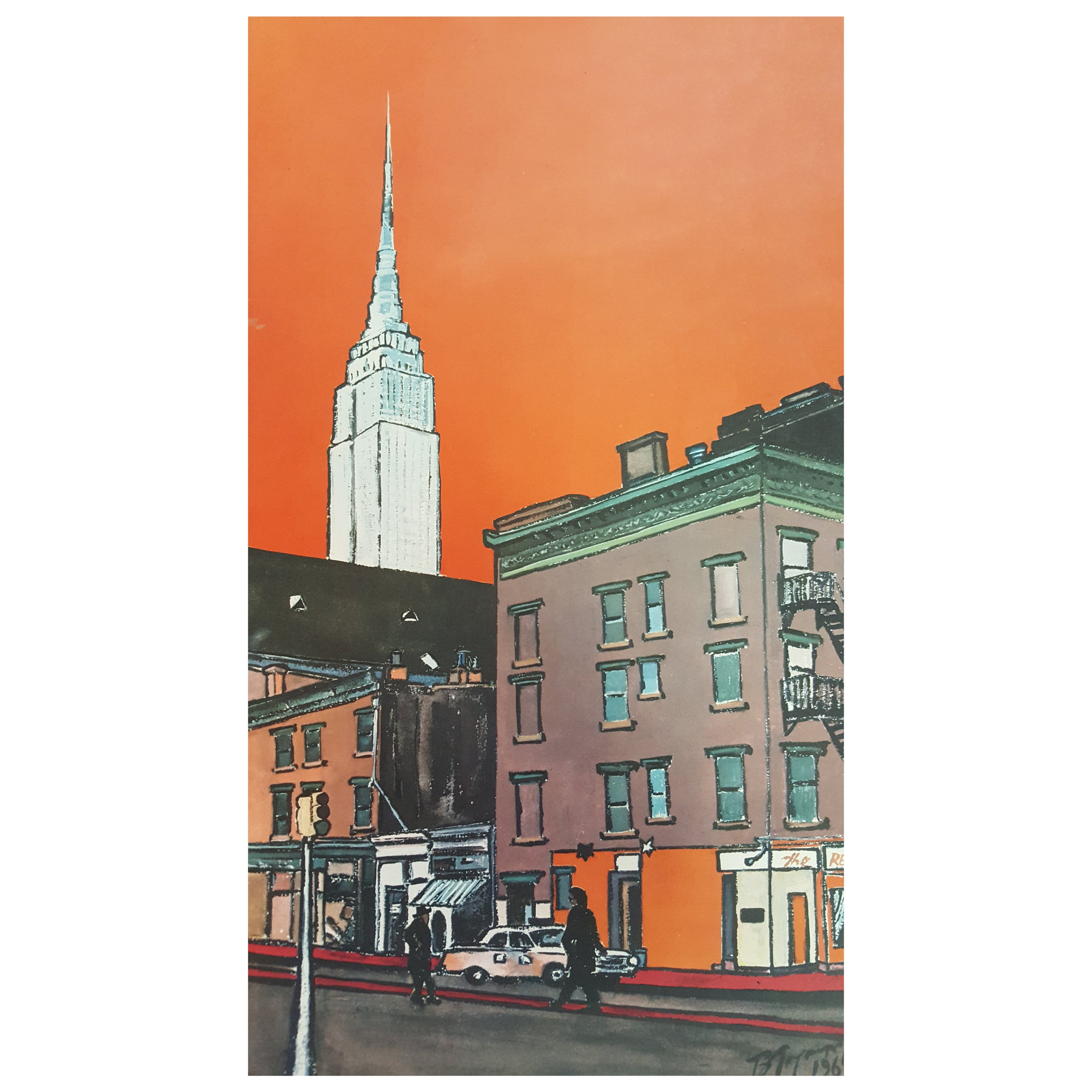 New York Empire State Building Art Poster By Burhan Dogancay