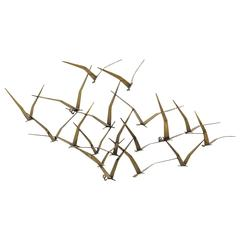 Flock of Birds Wall Sculpture by Curtis Jere