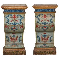 Pair of Sicilian Painted and Parcel-Gilt Tall Pedestal/ Consoles