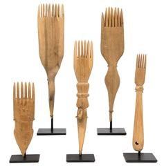 Collection of Vintage Hand-Carved Wooden Navajo Weaving Combs