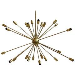 Beautiful Large Italian Sputnik Brass Chandelier with 24 Arms Stilnovo Style