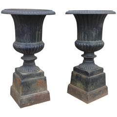 Pair of Vintage Classical Iron Urns
