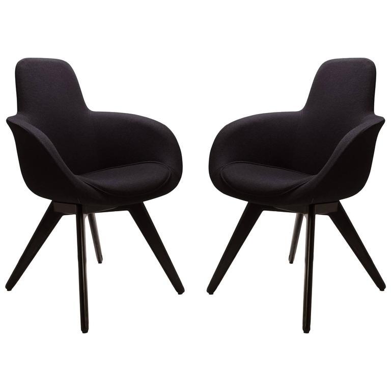Scoop High Chairs In Black Wool By Tom Dixon Pair At 1stdibs
