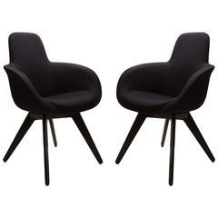 Scoop High Chairs in Black Wool by Tom Dixon, Pair