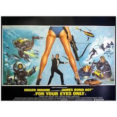 "Hand Signed by Roger Moore, ""For Your Eyes Only"" Film Poster, 1981"